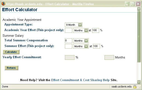 screen capture of effort calculator